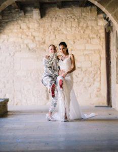 séance photo des mariés louboutin